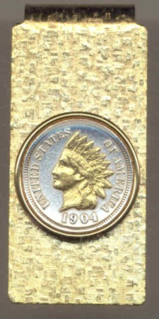 2-Toned Gold on Silver Indian head penny (minted 1859 -1909) - Hinged Money Clip