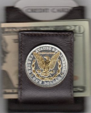 2-Toned Gold on Silver U.S. .Morgan Silver dollar (reverse) (Eagle, wreath & In God We Trust in Gold) (minted 1878 - 1921) - Folding Money clip