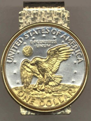 2-Toned Gold on Silver Eisenhower dollar (reverse) (1971 - 1978) - Hinged Money Clip