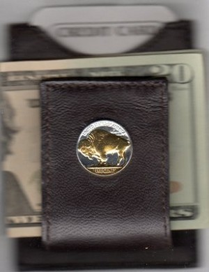 2-Toned Gold on Silver Buffalo Nickel Reverse (minted 1913 - 1938) - Folding Money clip