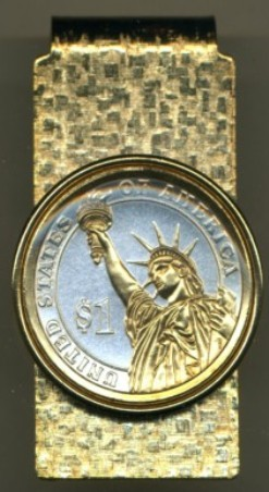 2-Toned Gold on Silver New (2007) George Washington Dollar coin (reverse) Statue of Liberty - Hinged Money Clip