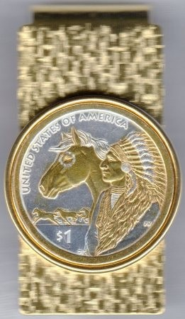 2-Toned Gold on Silver Native American U.S. Sacagawea dollar - Hinged Money Clip