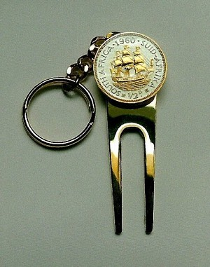 2-Toned Gold on Silver South African Sailing Ship Coin-Golf ball marker, Divot, Key chain