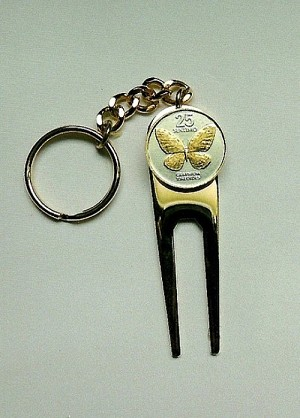 2-Toned Gold on Silver Philippines Butterfly Coin-Golf ball marker, Divot, Key chain