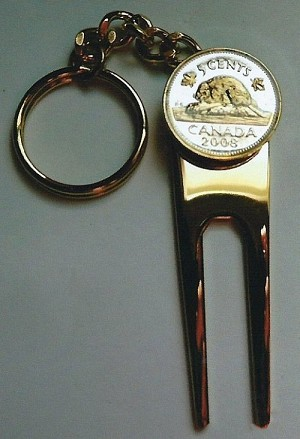 2-Toned  Gold on Silver Canadian  Beaver  Coin-Golf ball marker, Divot, Key chain