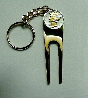 2-Toned Gold & Silver Old  U.S. Mercury dime-Golf ball marker, Divot, Key chain