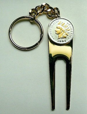 2-Toned Gold & Silver Old U.S. Indian penny-Golf ball marker, Divot, Key chain