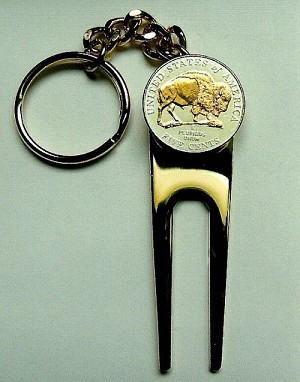 2-Toned Gold on Silver 2005 Bison nickel-Golf ball marker, Divot, Key chain