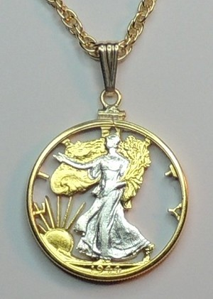 Old U.S. Walking Liberty Half Dollar - coin Necklace, Beautifully Cut out & 2-toned
