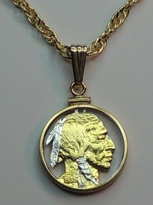 Indian Head nickel Coin -Necklace, Beautifully Cut out & 2-toned