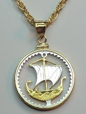 Cyprus Viking ship - coin Necklace, Beautifully Cut out & 2-toned