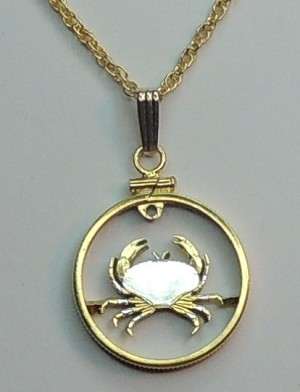 "Guernsey  ""Crab"" - Coin Necklace, Beautifully Cut out & 2-toned"