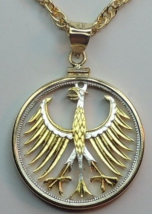 German Eagle - coin Necklace, Beautifully Cut out & 2-toned