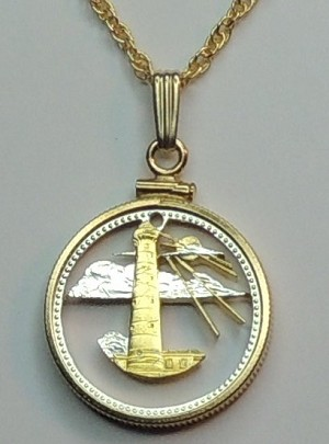 Barbados Lighthouse  - coin Necklace, Beautifully Cut out & 2-toned