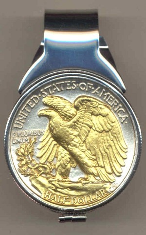 2-Toned Gold on Silver Old U.S. Walking Liberty half dollar (Eagle) (Spring loaded) Money clip