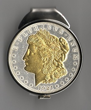 "2-Toned ""Gold on Silver"" U.S. 1921 Morgan Silver dollar (Spring loaded) Money clip"