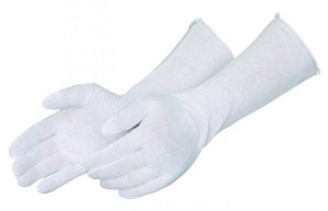 "Light Weight 14"" White Cotton Gloves - Men's - Size 9 - One Pair"