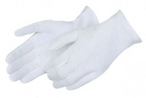 Medium Weight White Cotton Gloves - Men's - Size 9 - One Dozen Pairs