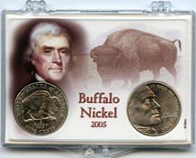 "Marcus 2"" x 3"" Snap Lock Coin Holder Buffalo Nickel Two Coin Holder"