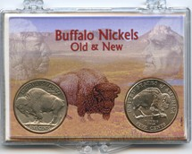 "Marcus 2"" x 3"" Snap Lock Coin Holder Buffalo Nickels - Old & New, Two Coin Holder"