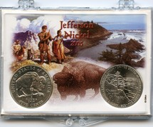 "Marcus 2"" x 3"" Snap Lock Coin Holder 2005 Buffalo & Ocean View Jefferson Nickels Includes both 2005 Nickels Mint State"