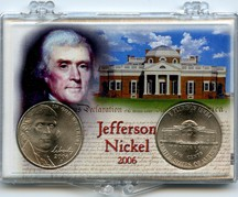"Marcus 2"" x 3"" Snap Lock Coin Holder 2006 Jefferson Nickel Design Change Includes both P and D Mint State Coins."