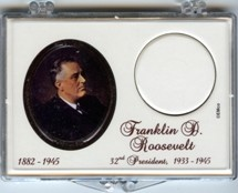 "Marcus 2"" x 3"" Snap Lock Coin Holder Presidential Dollar - Franklin D. Roosevelt"