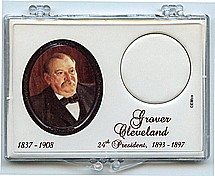 "Marcus 2"" x 3"" Snap Lock Coin Holder Presidential Dollar - Grover Cleveland 24th."