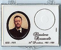 "Marcus 2"" x 3"" Snap Lock Coin Holder Presidential Dollar - Theodore Roosevelt"