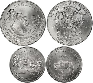 1991 Mount Rushmore  2 Coin Set Uncirculated