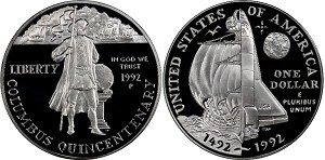 1992-P Columbus Quincentenary  Silver Dollar Proof