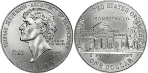 1993-P Thomas Jefferson Silver Dollar Uncirculated