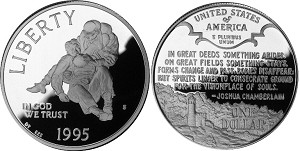 1995-S Civil War Battlefields  Silver Dollar Proof