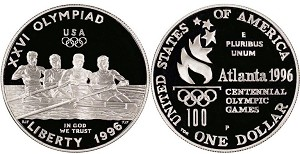 1996-P Olympic Rowing  Silver Dollar Proof