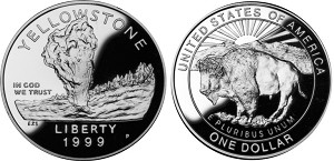 1999-P Yellowstone National Park  Silver Dollar Proof