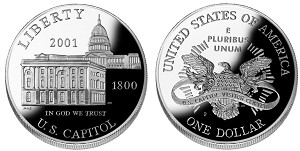 2001-P Capitol Visitors Center Silver Dollar Proof