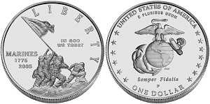 2005-P Marine Corps 230th. Anniversary Silver Dollar Uncirculated