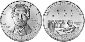 2009-P Louis Braille Bicentennial Silver Dollar Uncirculated