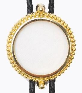 Bolo Tie for U.S. Silver Dollar, Gold Plated Bezel - Made In USA