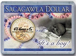 "H. E. Harris Frosty Case Frosty Case 2"" x 3""  Sacagawea Dollar Coin Holder It's A Boy"