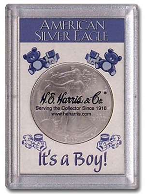 "H. E. Harris Frosty Case 2"" x 3""  Silver Eagle Coin Holder It's A Boy"
