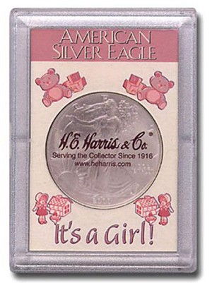 "H. E. Harris Frosty Case 2"" x 3""  Silver Eagle Coin Holder It's A Girl"