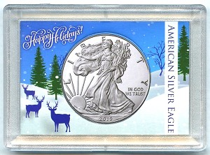 "American Silver Eagle Happy Holidays Reindeer Whitman Frosty Case 2"" x 3"""