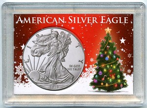 "American Silver Eagle Christmas Tree and Snowflakes Whitman Frosty Case 2"" x 3"""