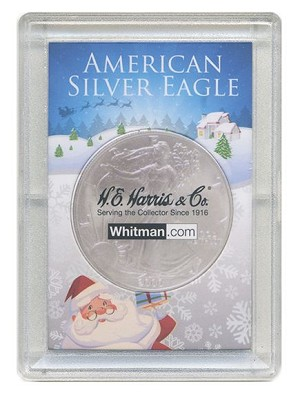 "H. E. Harris Frosty Case 2"" x 3""  Silver Eagle Coin Holder Santa"