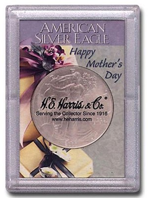 "H. E. Harris Frosty Case 2"" x 3""  Silver Eagle Coin Holder Happy Mother's Day"