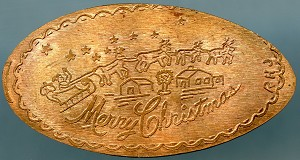 Elongated Cent - Merry Christmas - Santa in his sleigh pulled by reindeer