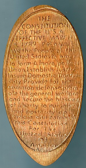 Elongated Cent - The Constitution of the U.S.A. Preamble