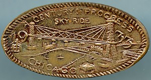 World's Fair Elongated Cent - A Century of Progress Sky Ride