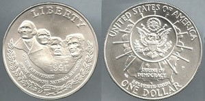 1991-P Mount Rushmore Silver Dollar Uncirculated